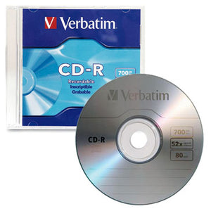 Verbatim 94776 CD-R 80Min 52X Branded in Slimline Jewel Case, 10 Pack