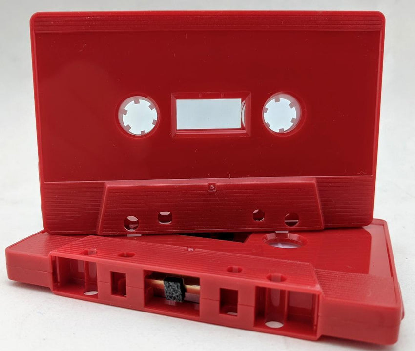Red Solid Tab Out 10 Minutes (05 Min. per side) Type I Normal Bias Master Audio Cassette Sonic - 25 Pack