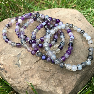 6mm stack of bracelets with Amethyst and Agate