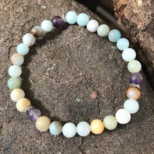 6mm Amazonite and Amethyst Bracelet