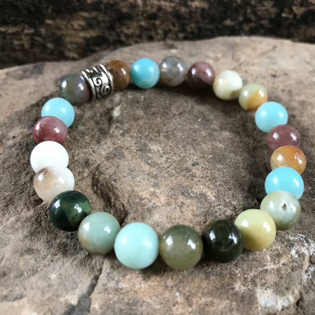 Amazonite and Fancy Jasper Bracelet