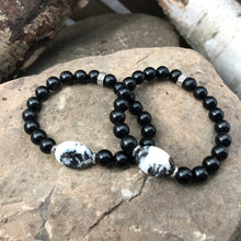Black Obsidian and Zebra Jasper focal bead