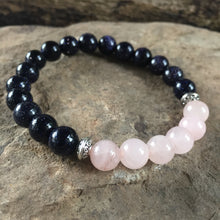 Blue Goldstone and Rose Quartz Bracelet