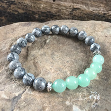 Silver Crazy Lace Agate and Green Aventurine Bracelet