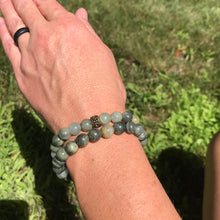 Green Line Jasper Bracelet pair on wrist