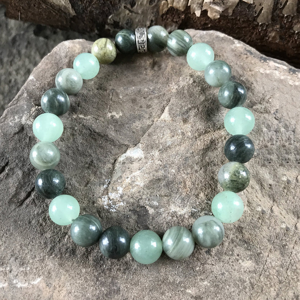 Green Line Jasper 8mm Bead Bracelet