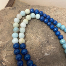 Mala #2 - blue beads with Amazonite and 10mm Amazonite guru.