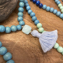 Mala #2 - blue beads with Amazonite and 10mm square Amazonite guru.