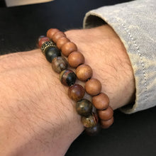 Red Creek Jasper bracelet on men's wrist
