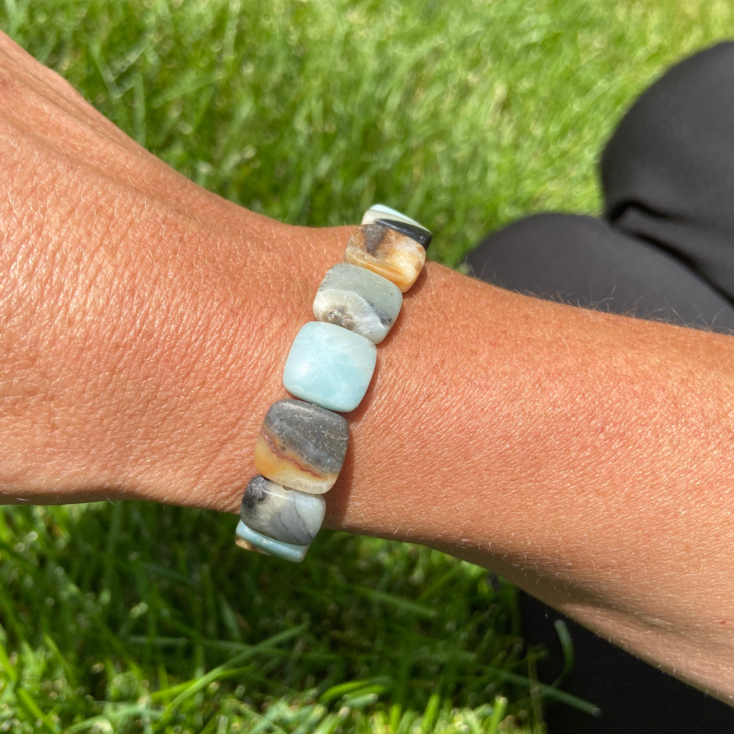 Black Gold Amazonite Square Bead Bracelet