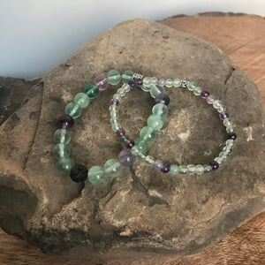 large and mini bead polished fluorite bracelets