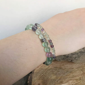 large and mini bead polished fluorite bracelets on wrist