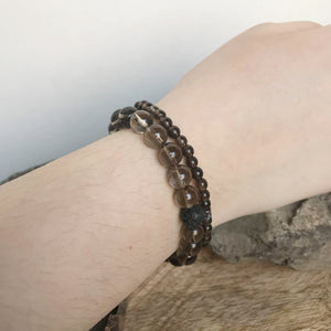 large and mini bead smoky quartz bracelets on wrist