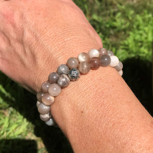 Moonstone bracelet pair on wrist