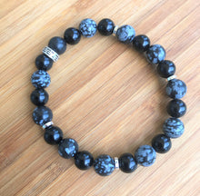 Black Obsidian & Snowflake Obsidian Bracelet with metal accents