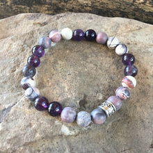 Porcelain Jasper and Amethyst Bracelet