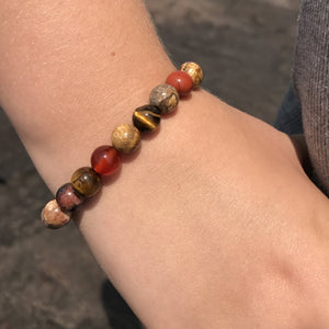 Picture Jasper, Tiger Eye, Red Jasper, and Red Agate Bracelet