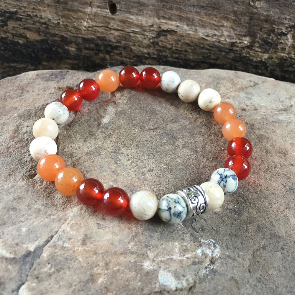 White African Opal, Red and Orange Carnelian Bracelet