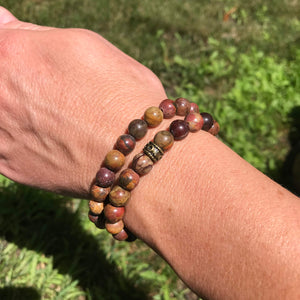 Red Creek Jasper bracelet pair on wrist