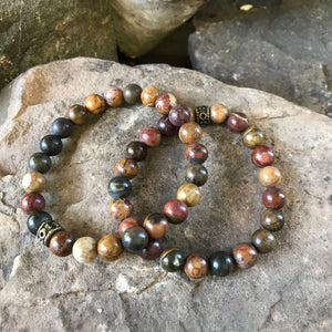 Red Creek Jasper bracelet pair