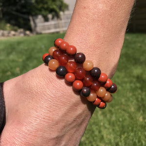 Bracelet stack with Red Jasper, Red Agate, and Orange Carnelian