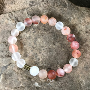 Matte Blood Quartz 8mm bracelet with brass accent