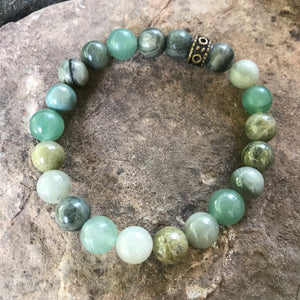 Green Line Jasper and Green Aventurine Bracelet with bronze metal bead
