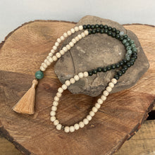 "Mala #2 - Made with cream and olive green dyed wood beads, Green Line Jasper stones, a round Fancy Jasper stone, and a 2"" silky cream tassel."
