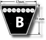 Wedge shaped V Belt reference number B433 (Int length 10957mm)