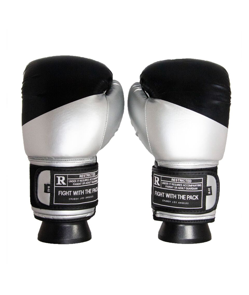 CruBox Authentic Black and Silver leather boxing gloves with limited edition design
