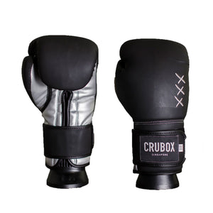 CruBox Authentic Black leather boxing gloves with limited edition design