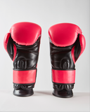 CruBox Authentic Hot Pink leather boxing gloves with black wolf