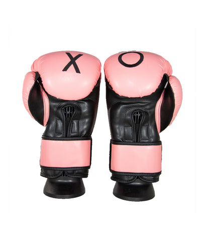 CruBox Authentic Pink leather boxing gloves with embroidery stitching limited edition