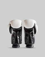 White Authentic Leather Gloves with Black Trim & Black print.