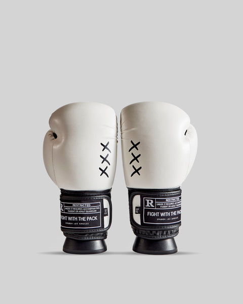 CruBox Authentic White leather boxing gloves with limited edition design