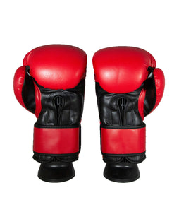CruBox Authentic Red leather boxing gloves with black wolf