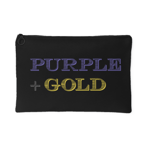Purple and Gold poly-cotton Zipper Pouch -black