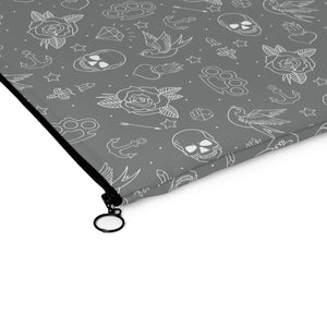 Bags - Gray Tattoo Print Makeup Pouch