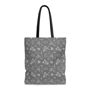 Bags - Gray Tattoo Print Tote Bag