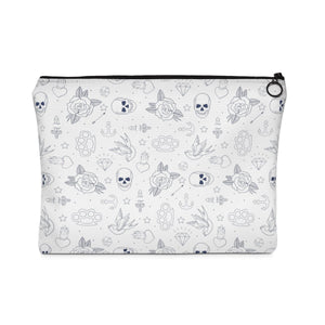 Bags - White Tattoo Print Makeup Pouch