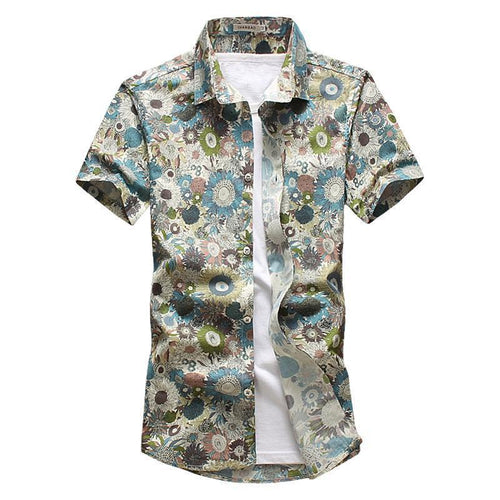 Beige Sunflower Button Up Shirt