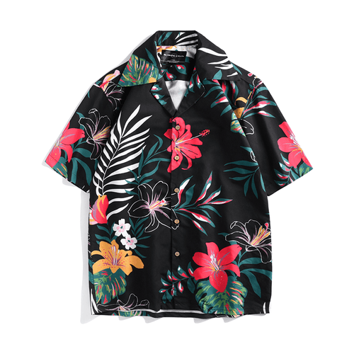 Black Tropical Button Up
