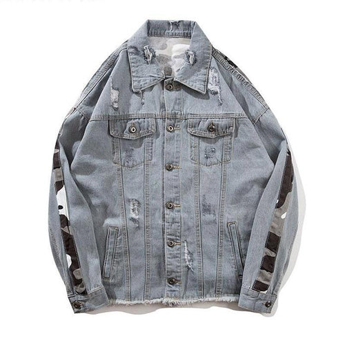 Camo Trim Denim Jacket