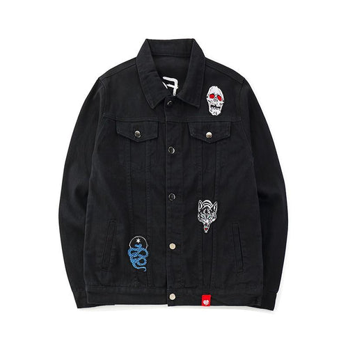 Embroidered Black Denim Jacket