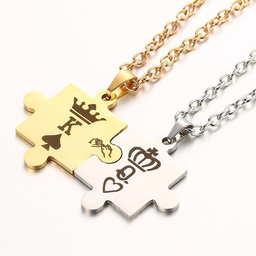 King & Queen Puzzle Piece Necklace