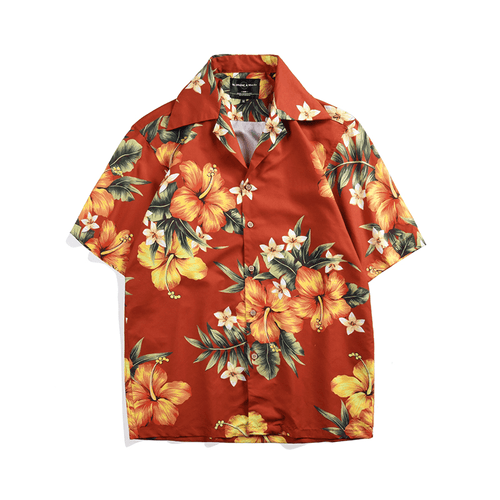 Orange Tropical Button Up