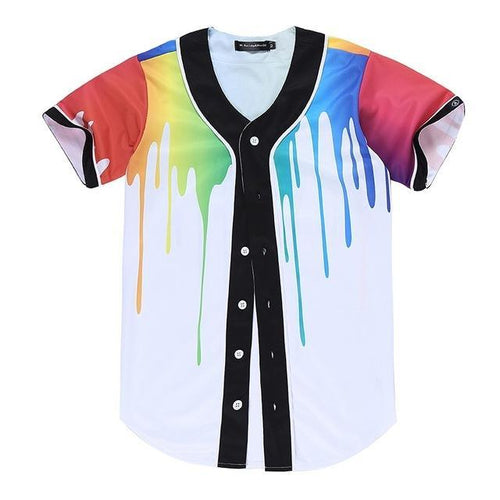 Paint Drip Button Up Jersey Tee