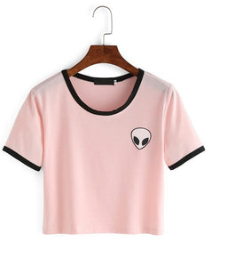 Pink Alien Crop Top