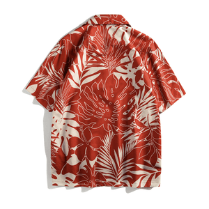 Red Tropical Button Up