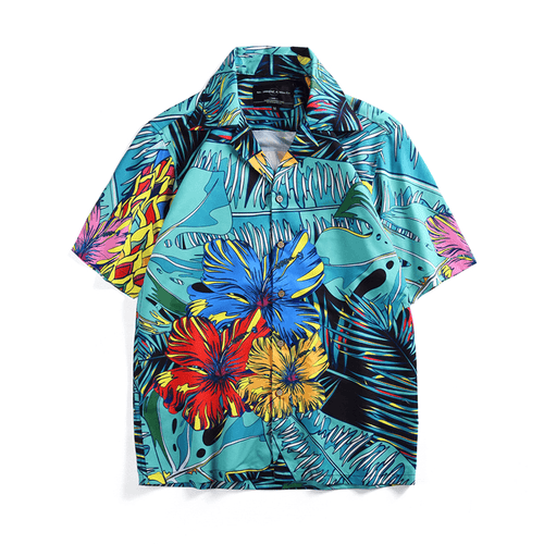 Turquoise Tropical Button Up